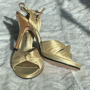 Knot Gold Strappy Heels